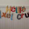 Fabric letters - 13-15 letters custom name / word banner with pegs,string in bag