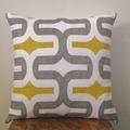 Retro Brigt Yellow, Grey and White Embrace Print Cushion - Retro Cushions
