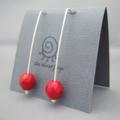 Poppy Red Czech Glass Sterling Silver Modern Contemporary Drop Earrings