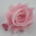 Soft Pink Shabby Chiffon Flower hair clip.