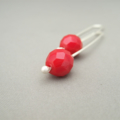 Poppy Red Czech Glass Sterling Silver Modern Contemporary Drop Earrings