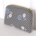 Black and White Floral Zippered Cotton Coin Purse/Card Holder