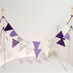 Cake Bunting/Cake Topper Double String Flags Purple Passion, Purple/Cream/Silver