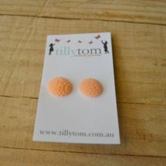 Resin Flower Earrings - Coral Orange