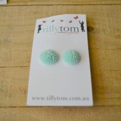 Resin Flower Earrings - Mint