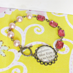 Jane Eyre Bracelet Asymmetrical Vintage Jewel Pink Peach Brass Asymmetry