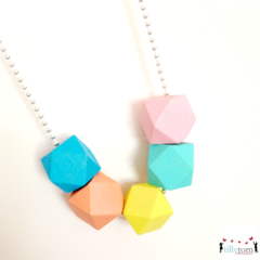 Wood Bead Necklace - Pastels