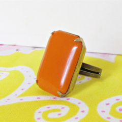 Pumpkin Orange Cocktail Ring. Vintage Glass Stone. Glam Statement Ring