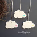 Clay Tags - mud clouds (set of 3)