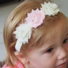 Soft Pink and Cream Shabby Chiffon Flower Stretch Headband.