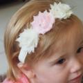 Soft Pink and Cream Shabby Chiffon Flower Stretch Headband.