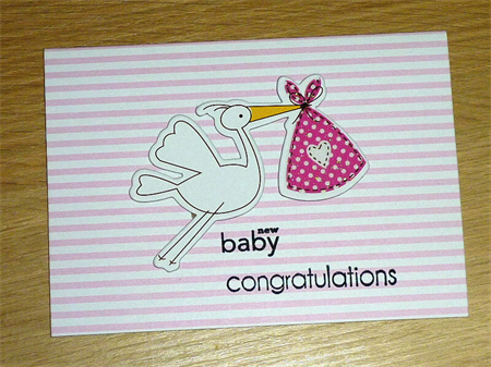 Pink and white new baby girl card