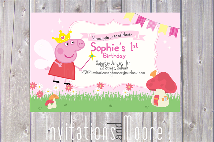 Peppa Pig Fairy Invitation Printable