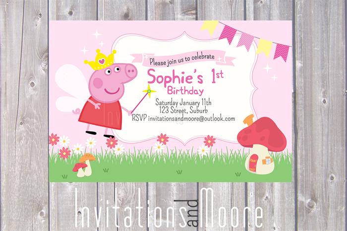 Peppa Pig Fairy Invitation Printable