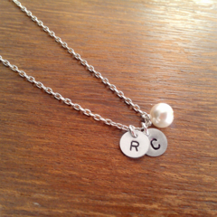 2 Custom Initial Silver Drops and Pearl Necklace - Silver