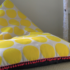Children's Beanbag - Girls beanbag Yellow spots with pink pompoms