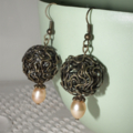 Mad World. large bronze squiggly ball Freshwater Pearl contemporary earrings
