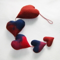 5 Hearts Handmade Felted Decoration