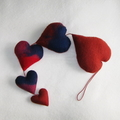 5 Hearts Handmade Felted Decoration