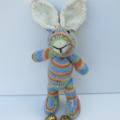 Hand Knitted Rainbow Knitted Easter Bunny Rabbit