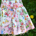 Girls Big Bow Skirt - Kitty Picnic retro vintage summer winter party