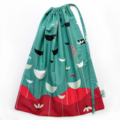 Drawstring Bag. Two Sided. Gorgeous Lotus Flowers. Floral. Teal & Maroon