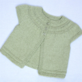 SALE: Baby cardigan with circular  yoke and short sleeves