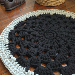 Black and grey Doily crochet rug, handmade with fabric yarn