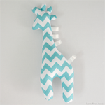 Giraffe Tag Toy Rattle Aqua Chevron