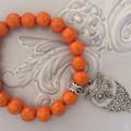1 orange owl beaded bracelet view store for others  heart charm -bracelets