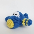 RESERVED Listing for SUZANNE: Cotton Crochet Plane Amigurumi Rattle Soft Toy