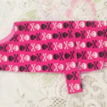 SKULL & CROSSES pink cotton dog coat. 32 cm