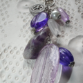 Amethyst Funk SALE chunky long dangly purple Amethyst Crystal charm necklace