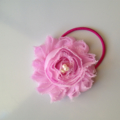 Pale Pink pearl chiffon flower lace hair tie