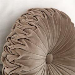 Vintage Style Beige Velvet round cushion
