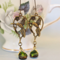 Hummingbird Earrings, swarovski crystal