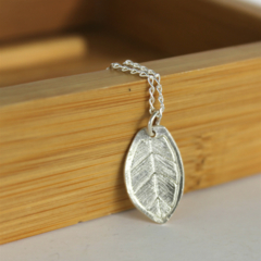 Leaf - Fine Silver Pendant with Sterling Silver Chain