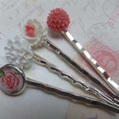 SALE Pink Floral Vintage Style Hair Clips-4 hair clips