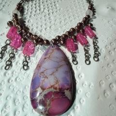 Boho Magic SALE Sea Sediment Jasper Rose Quartz brown purple pink chain