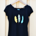 Feathers in Print  on a size 14  Ladies Tshirt