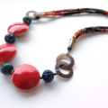 Suki Japanese Fabric and ceramic red and blue necklace by Sasha and Max Studio