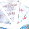Vintage Bunting - Spring Floral Pink, Blue White & Lace Flags. Wedding, Party