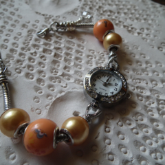 Summer Time SALE quartz movement diamonte stainless/S wrist watch orange charm