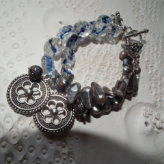 Icy Waters ..SALE .blister grey Pearls blue clear glass charms bracelet
