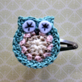 Crochet Owl Hairclip - teal blue, cream