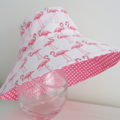 Girls beautiful summer hat in flamingo pattern