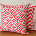 Outdoor Cushion Cover - Red and Aqua Arches