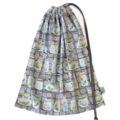 Large Drawstring Bag. Cute Grey Bugs Insects & Jars. Library or Toy Bag.