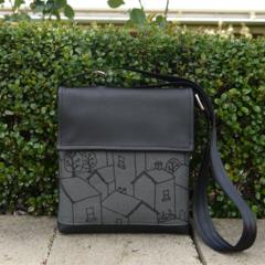 Mini Satchel - Rooftops - Black on Charcoal