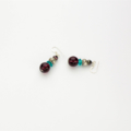 Teal, Burgundy, Brown and Silver Necklace with Matching Earrings